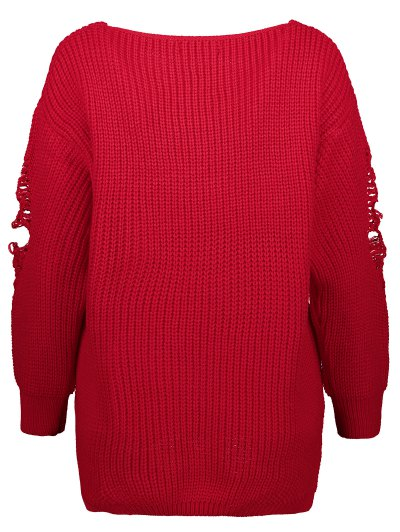 Loose Pullover Distressed  Sweater - RED 2XL Mobile