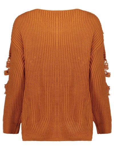Loose Pullover Distressed  Sweater - EARTHY L Mobile