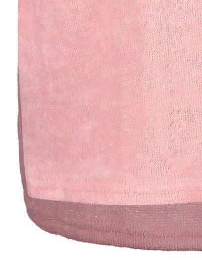 Side Zipper Sweater Dress - PINK S Mobile