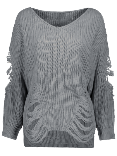 Loose Pullover Distressed  Sweater - DEEP GRAY M Mobile