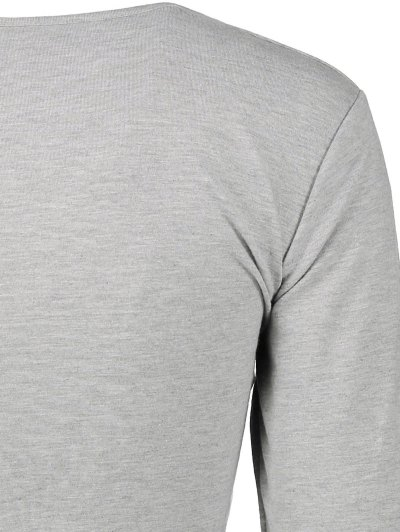 Long Sleeve Wrap Front Crop Top - GRAY M Mobile