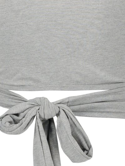 Long Sleeve Wrap Front Crop Top - GRAY S Mobile
