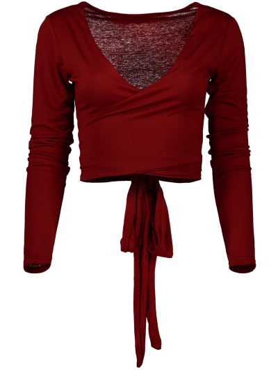 Long Sleeve Wrap Front Crop Top - BURGUNDY M Mobile