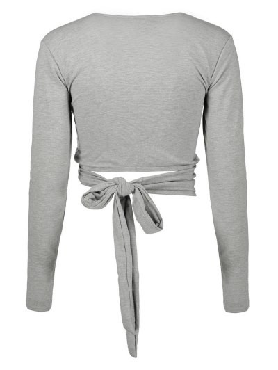 Long Sleeve Wrap Front Crop Top - GRAY L Mobile