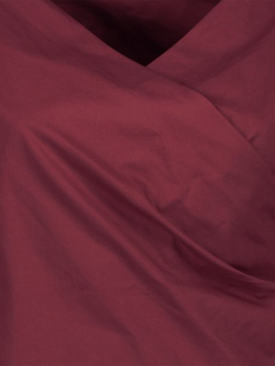 Wrap Front Puffed Sleeve Blouse - WINE RED L Mobile