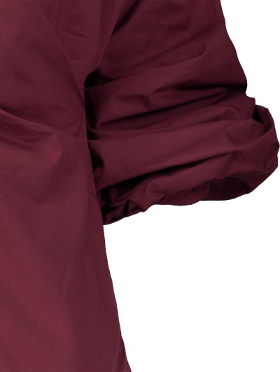 Wrap Front Puffed Sleeve Blouse - WINE RED M Mobile