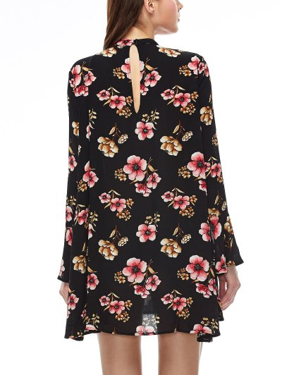 Keyhole Cutout Floral Print Swing Dress - BLACK L Mobile