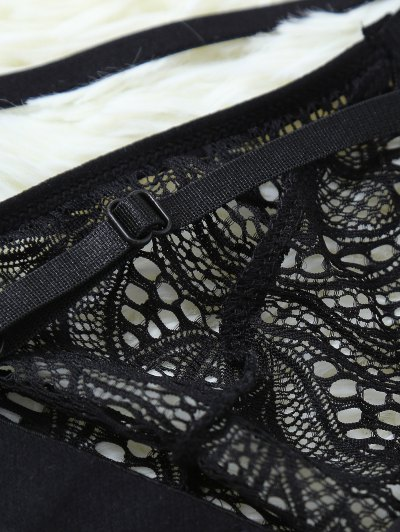 Strappy Hollow Out Lace Bra - BLACK L Mobile