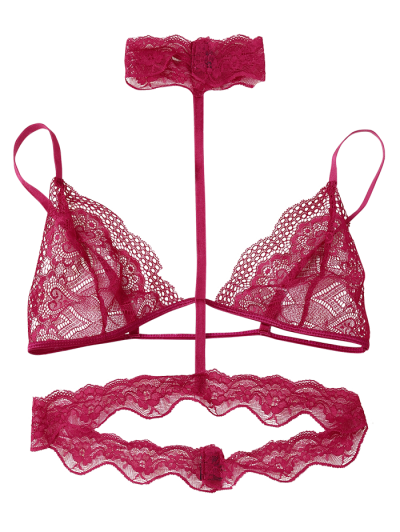 Cut Out Sheer Lace Bra - RED M Mobile