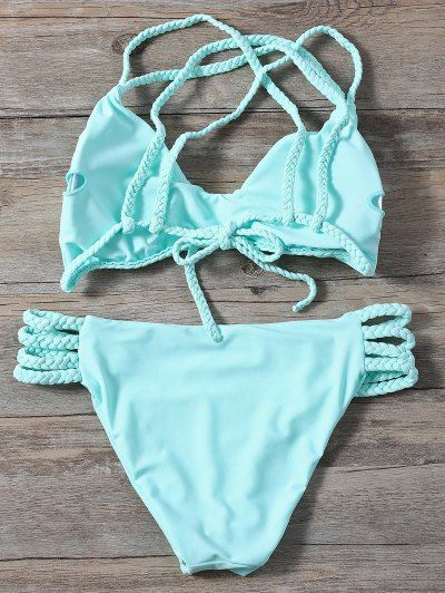 Braided Crisscross Strap Bikini - LIGHT GREEN L Mobile