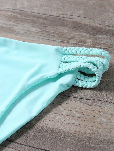 Braided Crisscross Strap Bikini - LIGHT GREEN S Mobile