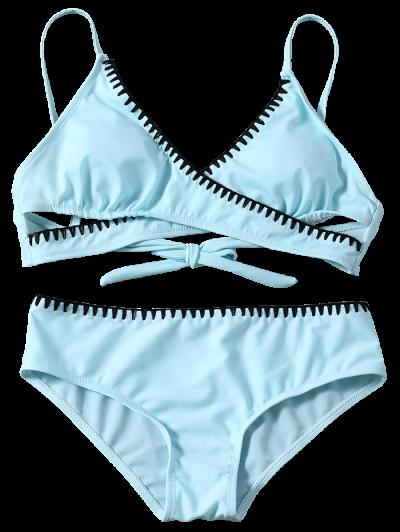 Cross Front Bikini Set - LIGHT BLUE L Mobile