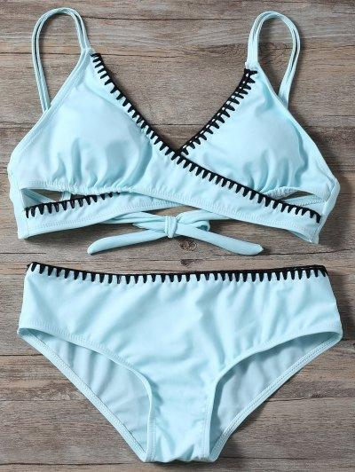 Cross Front Bikini Set - LIGHT BLUE M Mobile