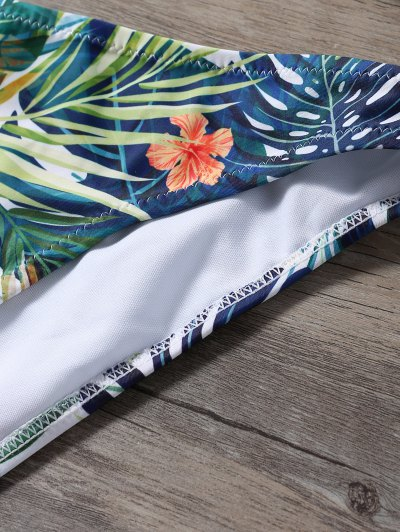 Palm Leaf Print Cold Shoulder Bikini - MULTICOLOR M Mobile