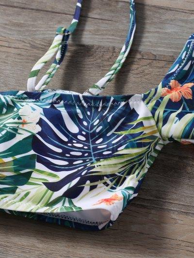 Palm Leaf Print Cold Shoulder Bikini - MULTICOLOR S Mobile