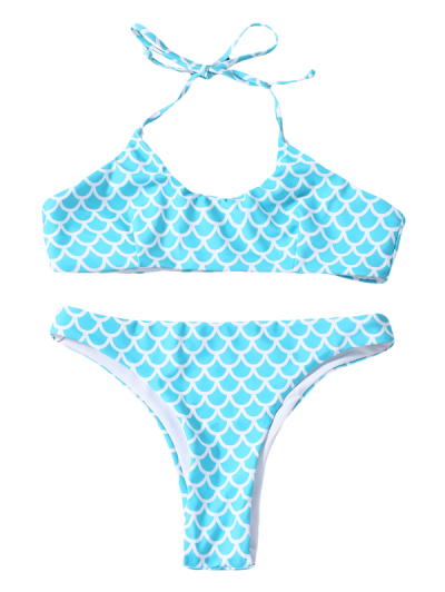 Fish Scale Print Mermaid Bikini - TURQUOISE L Mobile