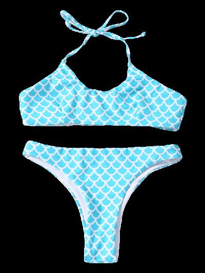 Fish Scale Print Mermaid Bikini - TURQUOISE M Mobile
