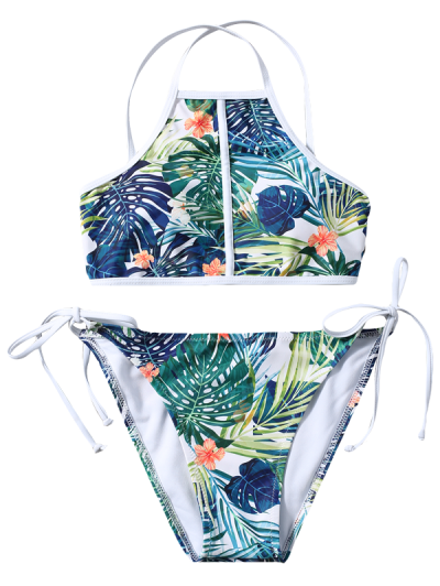 High Neck Tropical Foliage Print Bikini - MULTICOLOR M Mobile