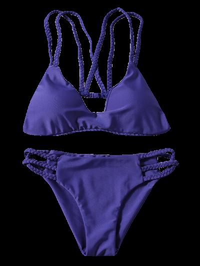 Braided Strappy Thong Bikini Set - DEEP PURPLE L Mobile