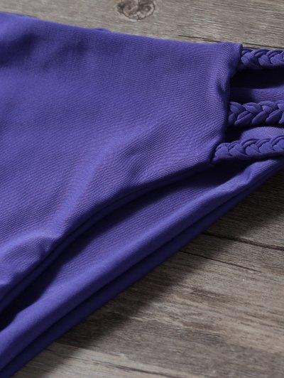 Braided Strappy Thong Bikini Set - DEEP PURPLE M Mobile