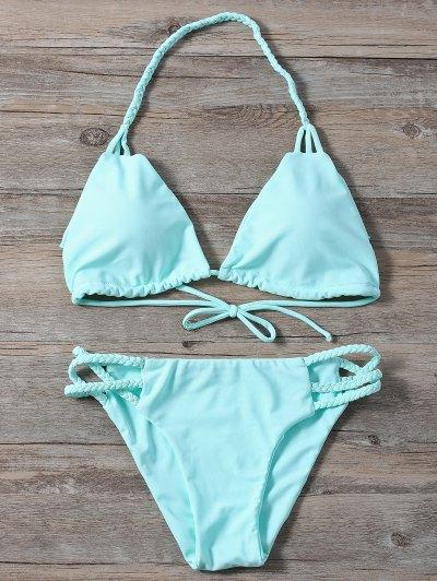Side Strap Braided Plunge Bikini - TURQUOISE L Mobile