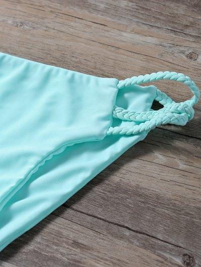 Side Strap Braided Plunge Bikini - TURQUOISE M Mobile