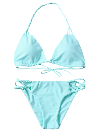 Side Strap Braided Plunge Bikini - TURQUOISE S Mobile