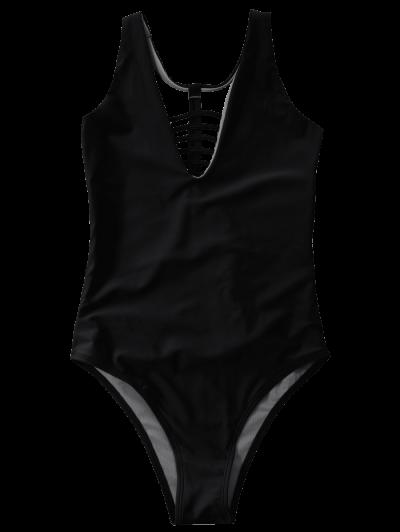 Strappy One-Piece Swimwear - BLACK M Mobile