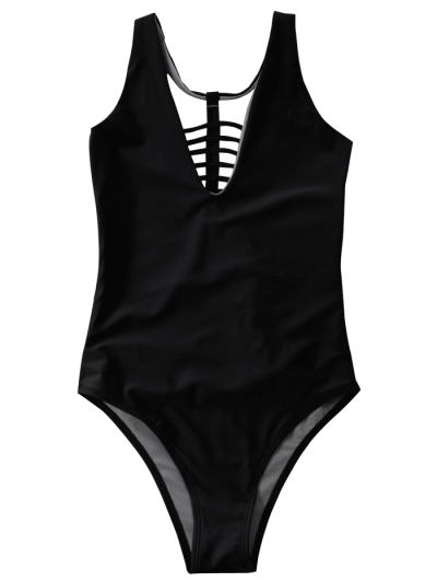 Strappy One-Piece Swimwear - BLACK S Mobile