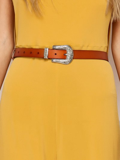 Belted Backless Jumpsuit - YELLOW L Mobile