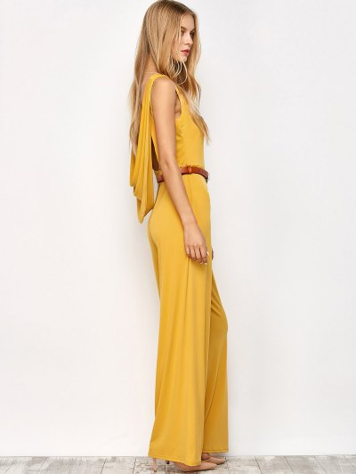 Belted Backless Jumpsuit - YELLOW S Mobile