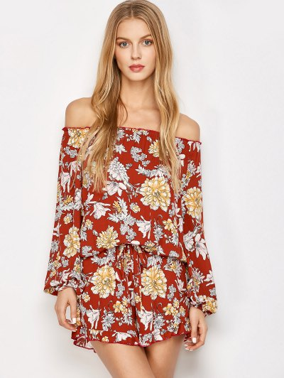 Bohemian Off Shoulder Floral Romper - FLORAL L Mobile