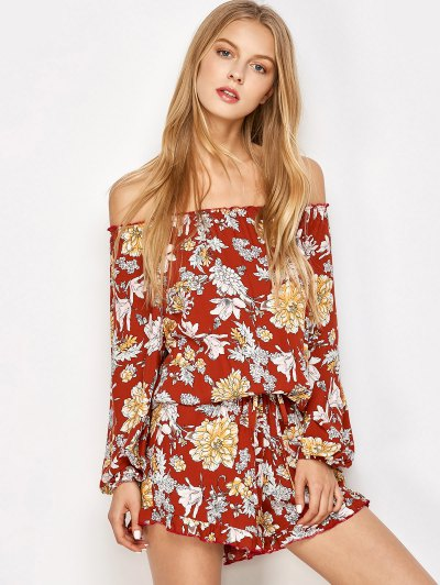 Bohemian Off Shoulder Floral Romper - FLORAL M Mobile