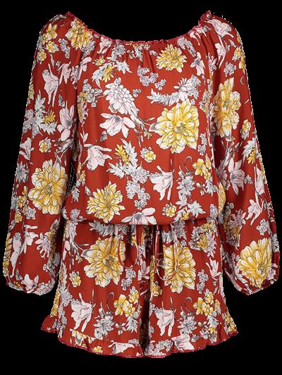 Bohemian Off Shoulder Floral Romper - FLORAL S Mobile