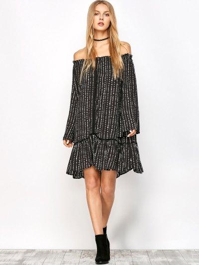 Printed Off Shoulder Tunic Dress - BLACK L Mobile