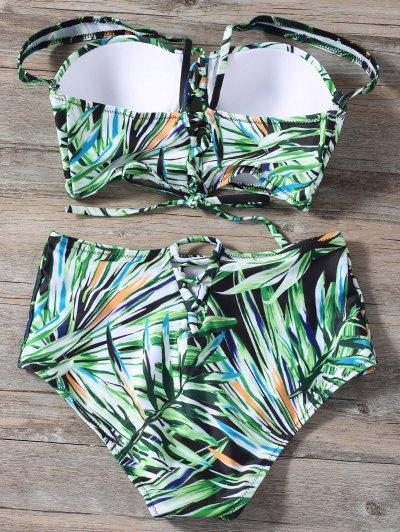 Lace Up Printed High Waist Bikini Set - GREEN XL Mobile