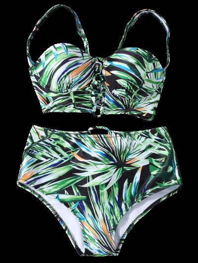 Lace Up Printed High Waist Bikini Set - GREEN S Mobile