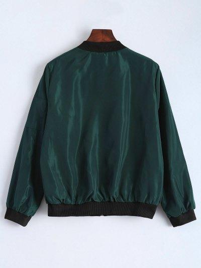 Zip Detail Bomber Jacket - GREEN S Mobile