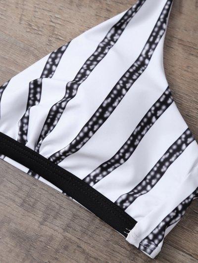 Halter Striped Tie Side Bikini - WHITE AND BLACK L Mobile