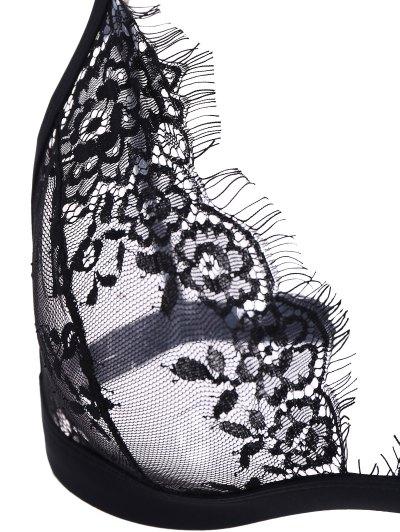 Full Coverage Sheer Lace Bra - BLACK S Mobile