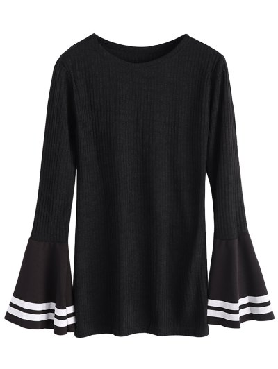 Contrasting Bell Sleeve Layering Top - BLACK XL Mobile