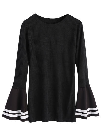 Contrasting Bell Sleeve Layering Top - BLACK L Mobile