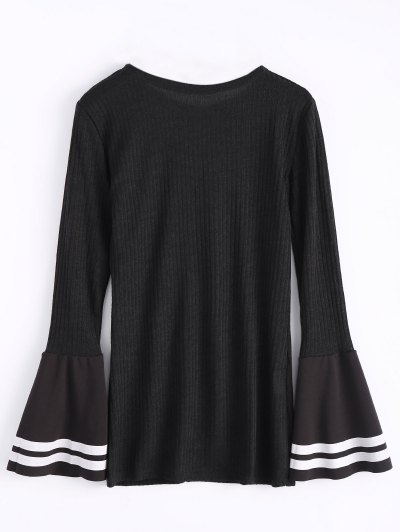 Contrasting Bell Sleeve Layering Top - BLACK M Mobile