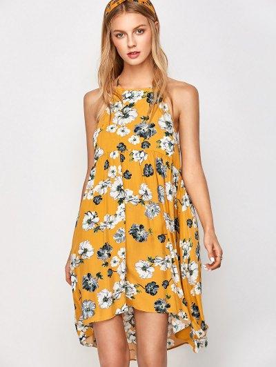Mini Smock Sleeveless Floral Dress - GOLDEN L Mobile