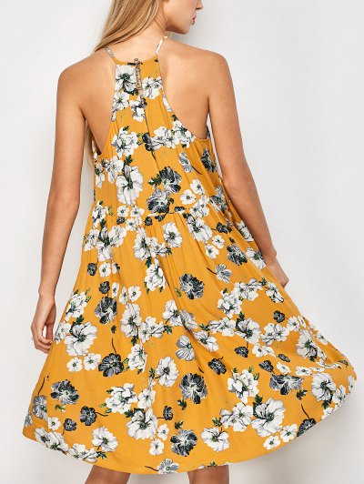 Mini Smock Sleeveless Floral Dress - GOLDEN M Mobile