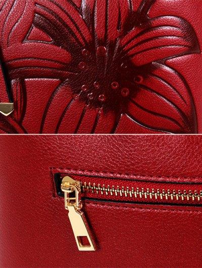 Flower Embossed Faux Leather Handbag - BROWN  Mobile