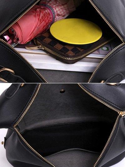 Slouchy Handbag with Pom Pom Detail - BLACK  Mobile