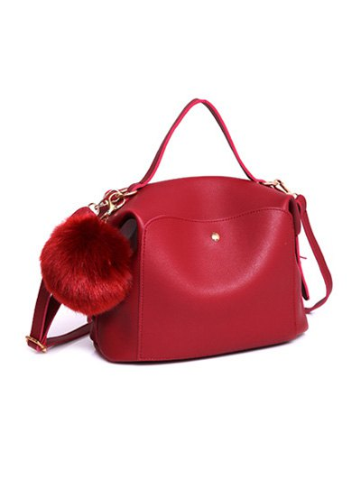 Slouchy Handbag with Pom Pom Detail - RED  Mobile