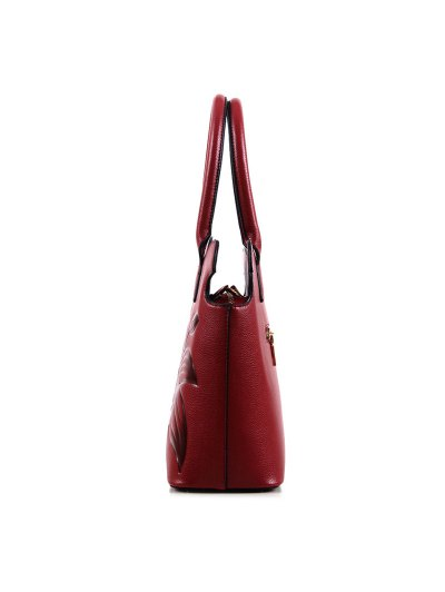 Flower Embossed Scalloped Handbag - WINE RED  Mobile
