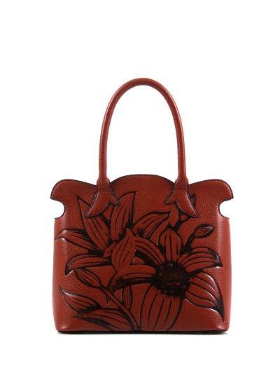 Flower Embossed Scalloped Handbag - BROWN  Mobile